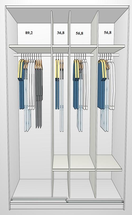 garderobeskab med skydelåger 250 cm Garderobeskab med 2 skydelåger garderobeskab med skydelåger